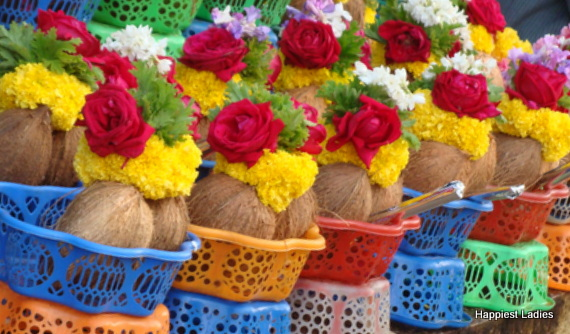 coconut and flowers for decoration