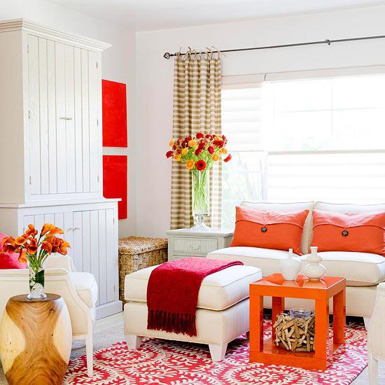 decoração sala laranja