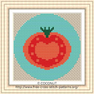 TOMATO VEGETABLE ICON, FREE AND EASY PRINTABLE CROSS STITCH PATTERN