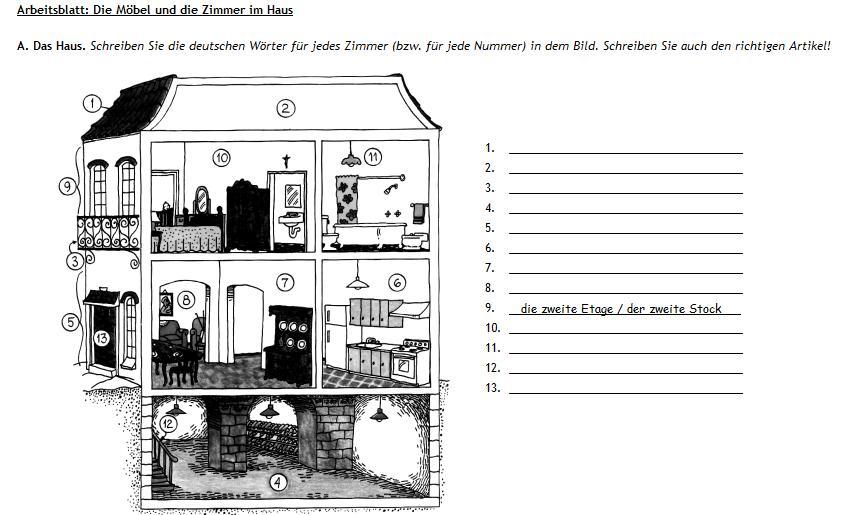 deutsch mit frau virginia d 39 al wortschatz m bel haus a1. Black Bedroom Furniture Sets. Home Design Ideas