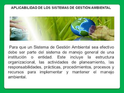Aplicabilidad del sistemas de gestión ambiental