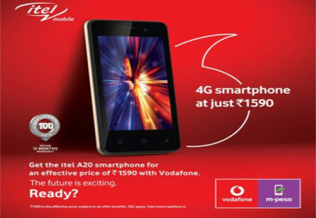 Book your smartphone Vodafone Itel A20 price is just R1590