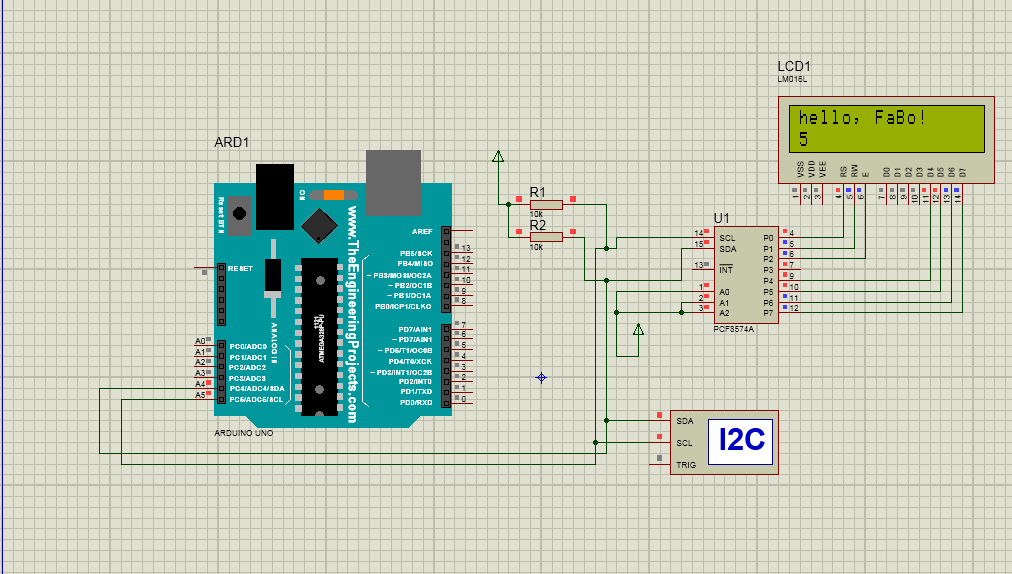 ARDUINO WITH I2C LCD DISPLAY USING PCF8574A