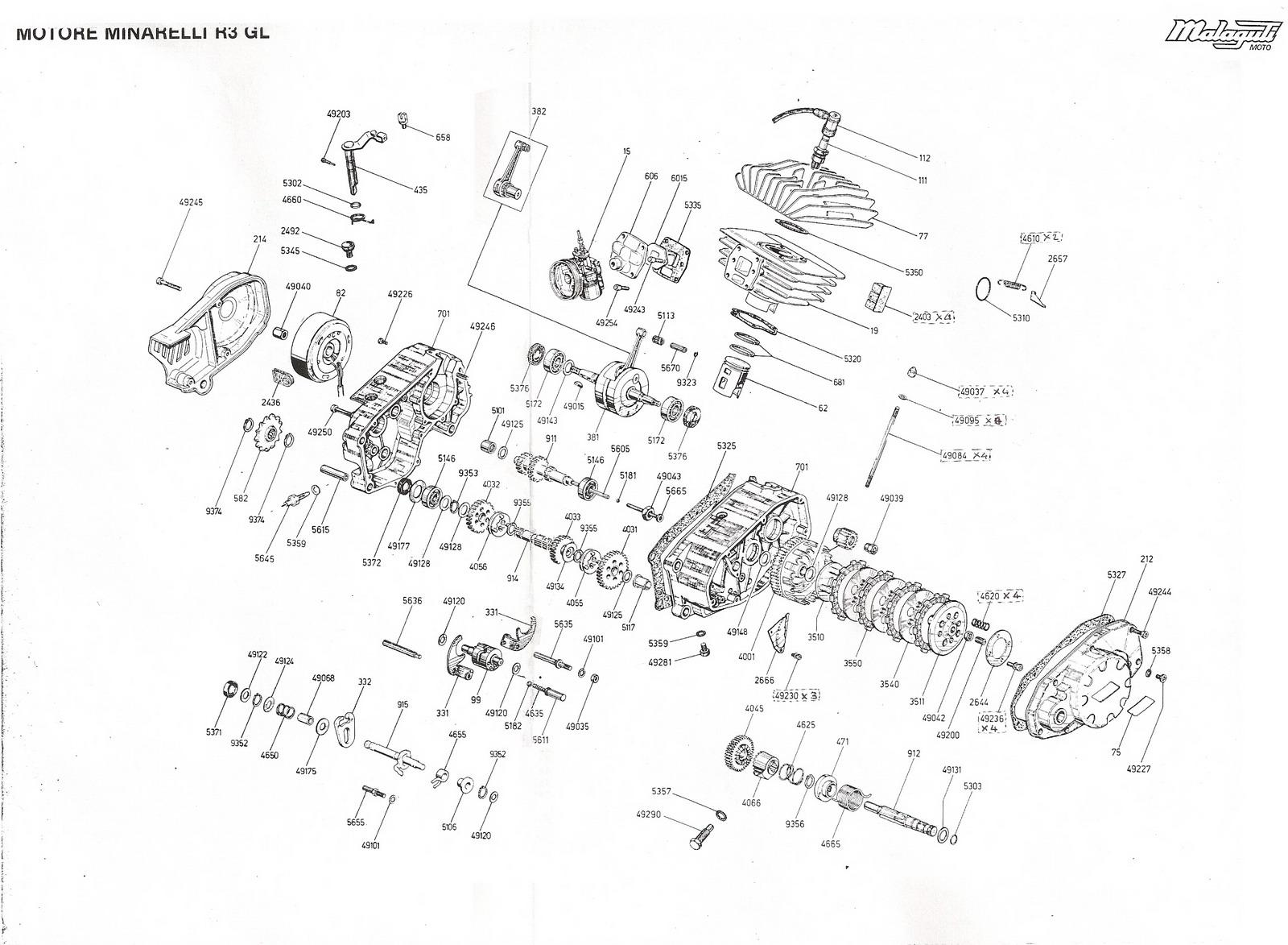 Malaguti Fifty: Esploso Motore Minarelli R3GL