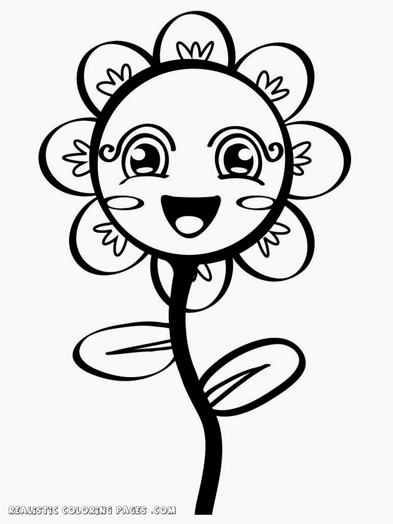 Simple flower kindergarten kids coloring pages realistic for Easy flower coloring pages