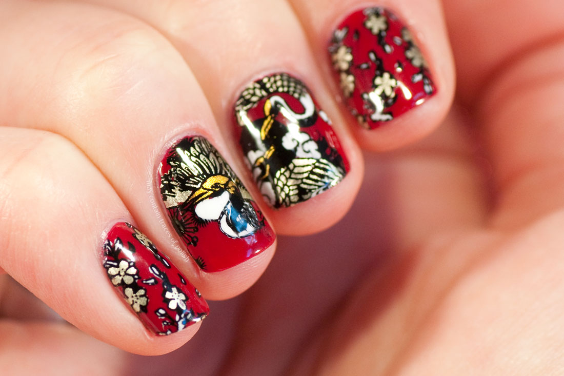 Chinese New Year's Manicure - Red stamped MoYou Suki 17 nail art