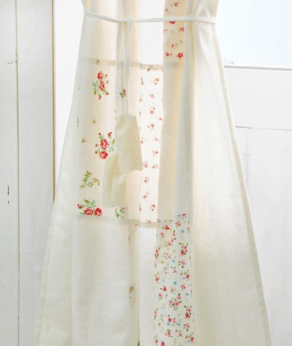 Curtain Tie Backs on Floral and Cream linen patchwork curtain