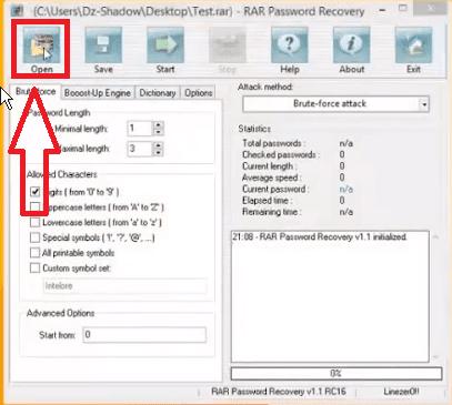 كسر كلمة سر ملفات Winrar مع برنامج WinRAR Password Cracker