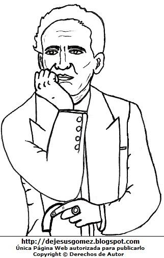 Dibujo de César Vallejo para colorear pintar e imprimir. Dibujo de César Vallejo de Jesus Gómez