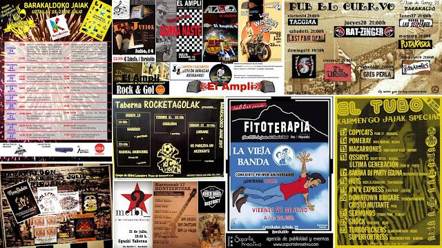 Carteles de conciertos en los bares durante las fiestas de Barakaldo