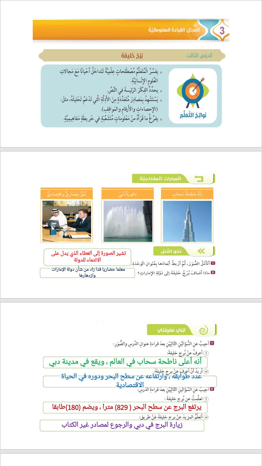 حلول درس برج خليفة في مادة اللغة العربية للصف السابع الفصل الاول