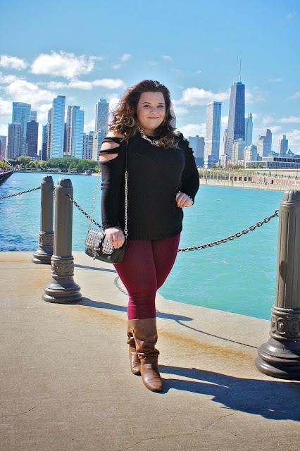 natalie craig, plus size fashion blogger, plus size fashion, chicago fashion, chicago chic, chicago blogger, versace, forever 21 leggings, forever 21 sweater, cutouts,