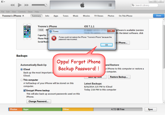default password for iphone backup