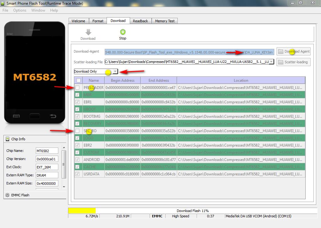 Huawei Y3ii LUA-U22 Dead Recover firmware and flashing guide