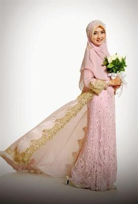 Desain kebaya pengantin muslimah elegan via