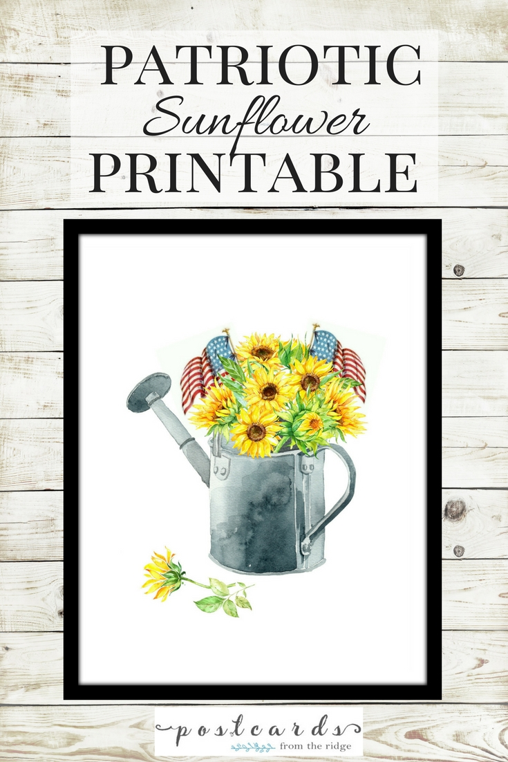 Sunflowers and American flags in a watering can printable. So perfect for summer!