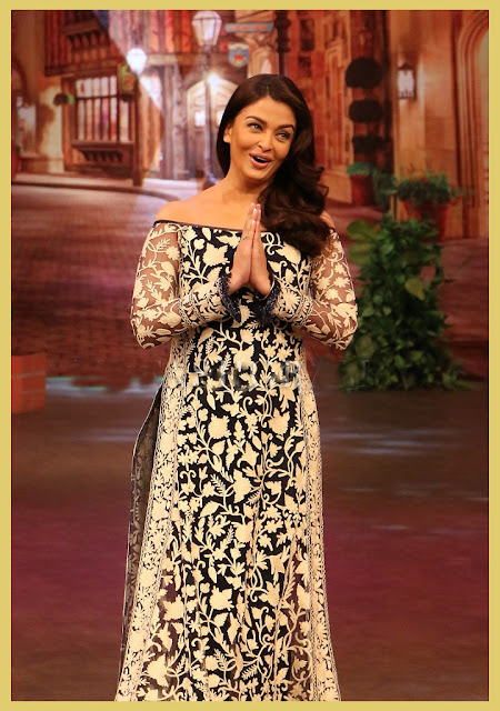 Aishwarya Rai in Black and White Thread Embroidered Off Shoulder High Slit Floor Length Kurta