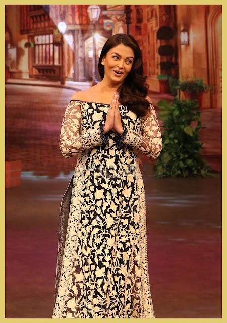 Aishwarya Rai in Black and White Thread Embroidered Off Shoulder High Slit Floor Length Kurta