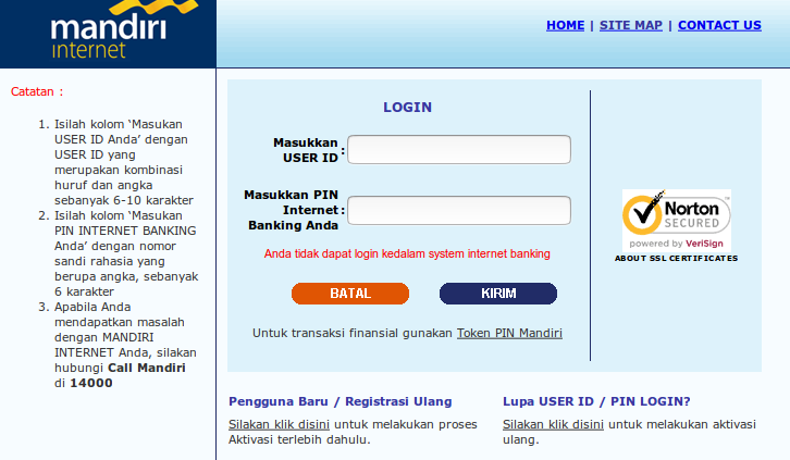 Ib Mandiri Anda Tidak Dapat Login Kedalam System Internet Banking