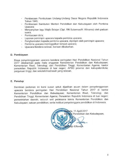 Pedoman Pelaksanaan Upacara Bendera Peringatan Hardiknas Tahun 2017