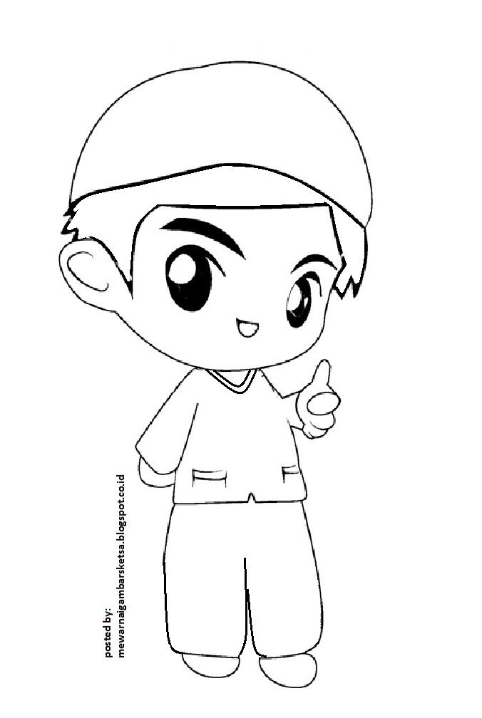 Mewarnai Gambar Sketsa Kartun Anak Muslim 10 Islam