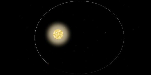For the first time, astronomers have observed a star pulsing in response to its orbiting planet. The star, HAT-P-2, pictured, is one of the most massive exoplanets known today. The planet, named HAT-P-2b, tracks its star in a highly eccentric orbit, flying extremely close to and around the star, then hurtling far out before eventually circling back around.  Image courtesy of NASA (edited by MIT News)