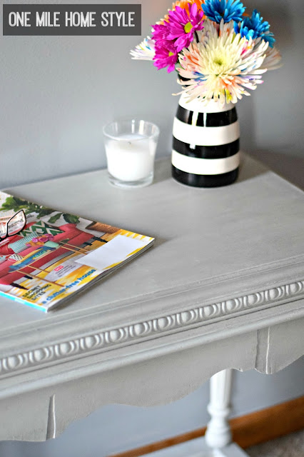 Drab to fab table makeover with light grey chalk paint and grey wax - One Mile Home Style