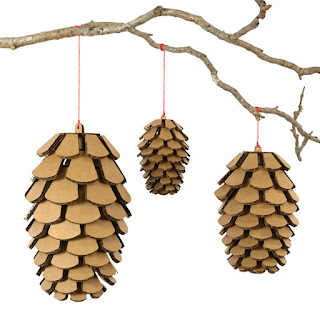 cardboard safari recycled pinecone ornament