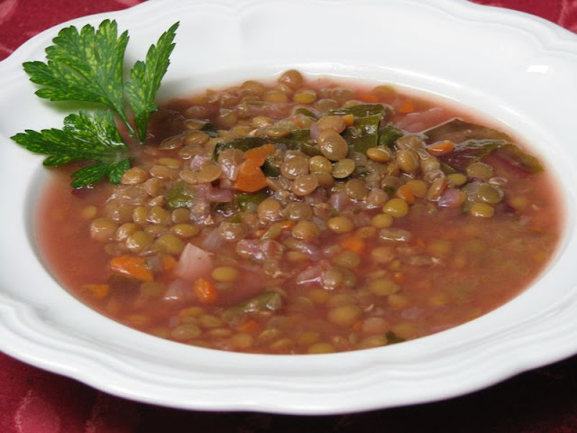 Lebanese Lemon Lentil Soup with Swiss Chard