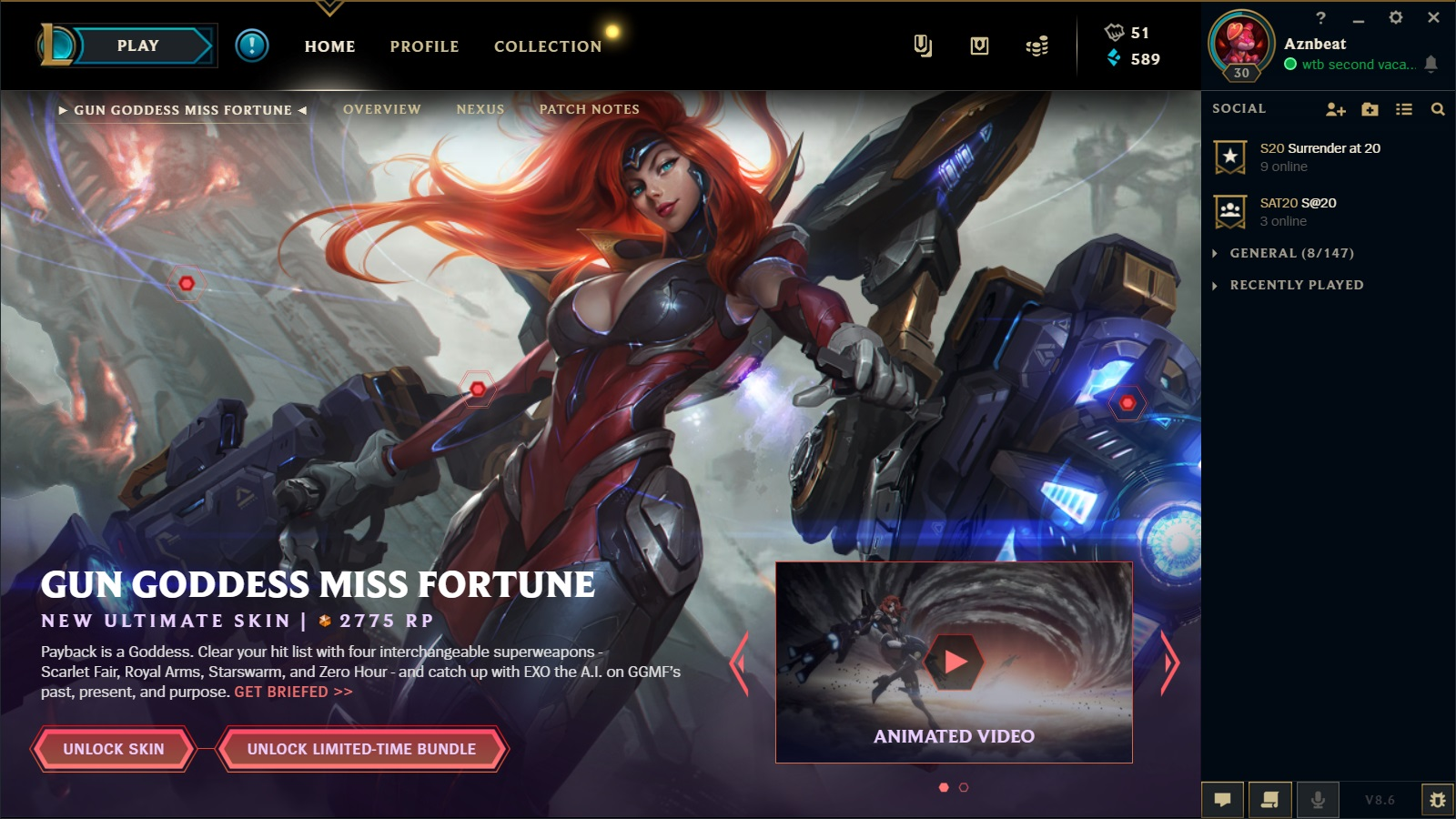 Surrender At 20 Gun Goddess Miss Fortune Now Available