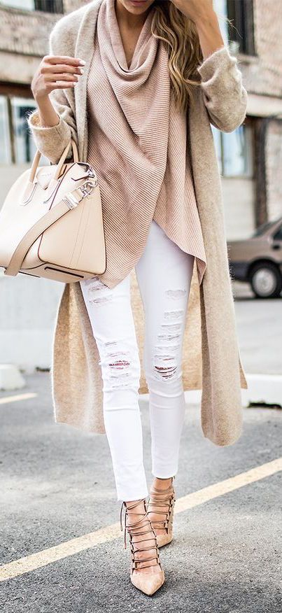 nude palettes outfit idea / bag + sweater + cashmere cardi + white rips + lace-up heels