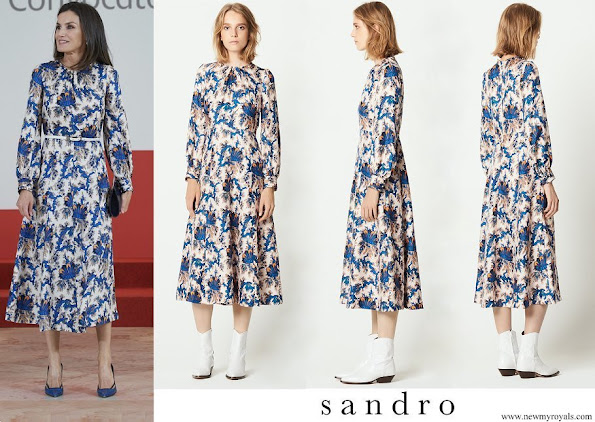 Queen Letizia wore Sandro all over print long silk dress