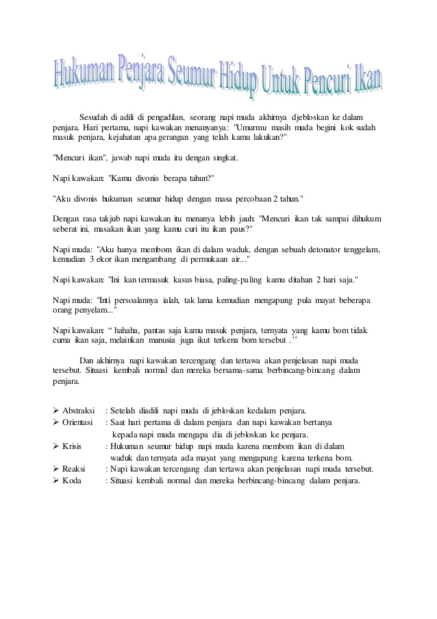 Contoh Teks Anekdot Lucu Dan Strukturnya - Contoh O
