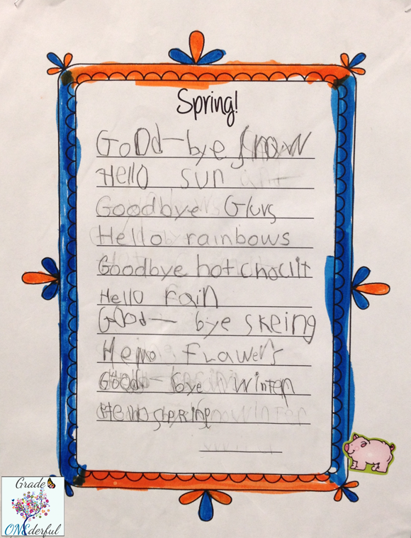 Spring Poetry writing frame