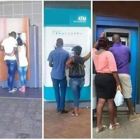 Couples playing love at the ATM