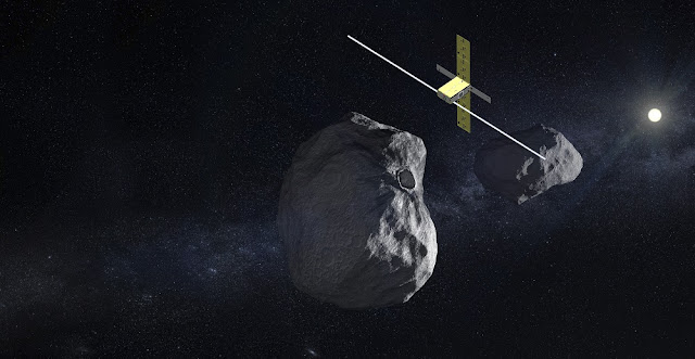 The Juventas CubeSat, to be delivered to the Didymos binary asteroid system by ESA's proposed Hera mission, will carry a low-frequency radar for subsurface sounding as well as a gravimeter to measure both asteroids' gravity fields. It will also perform radio science measurements and measure the forces involved in its concluding landing on the smaller of the two asteroids, at the end of its month-long mission. Credit: ESA/GomSpace
