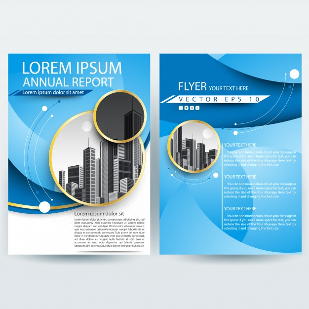 Business brochure template with blue curve  shapes Free Vector