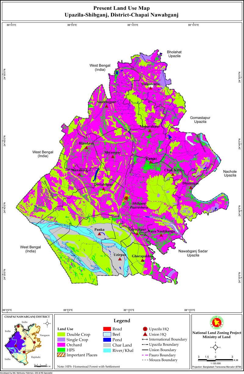 Shibganj Upazila Mouza Map Nawabganj District Bangladesh