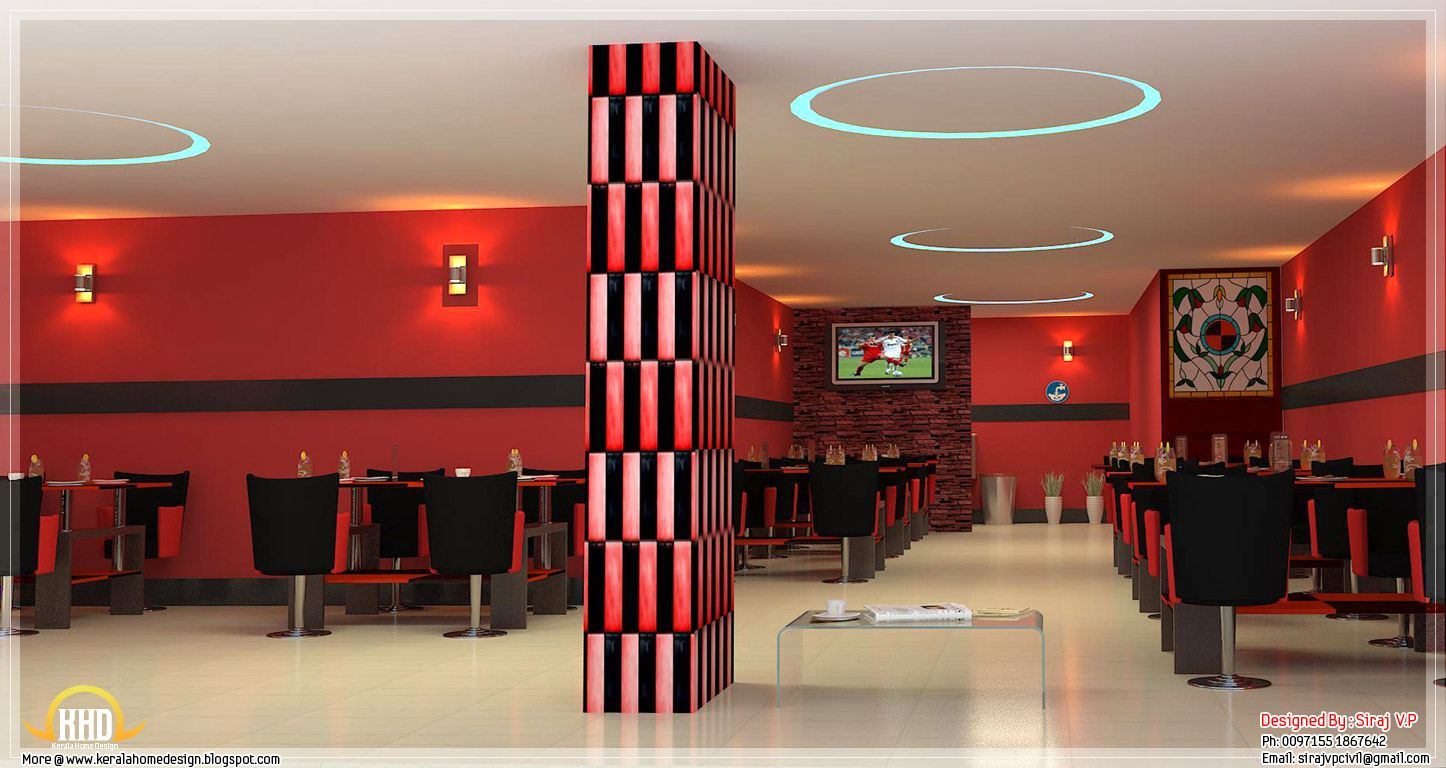 Red toned restaurant interior designs indian home decor