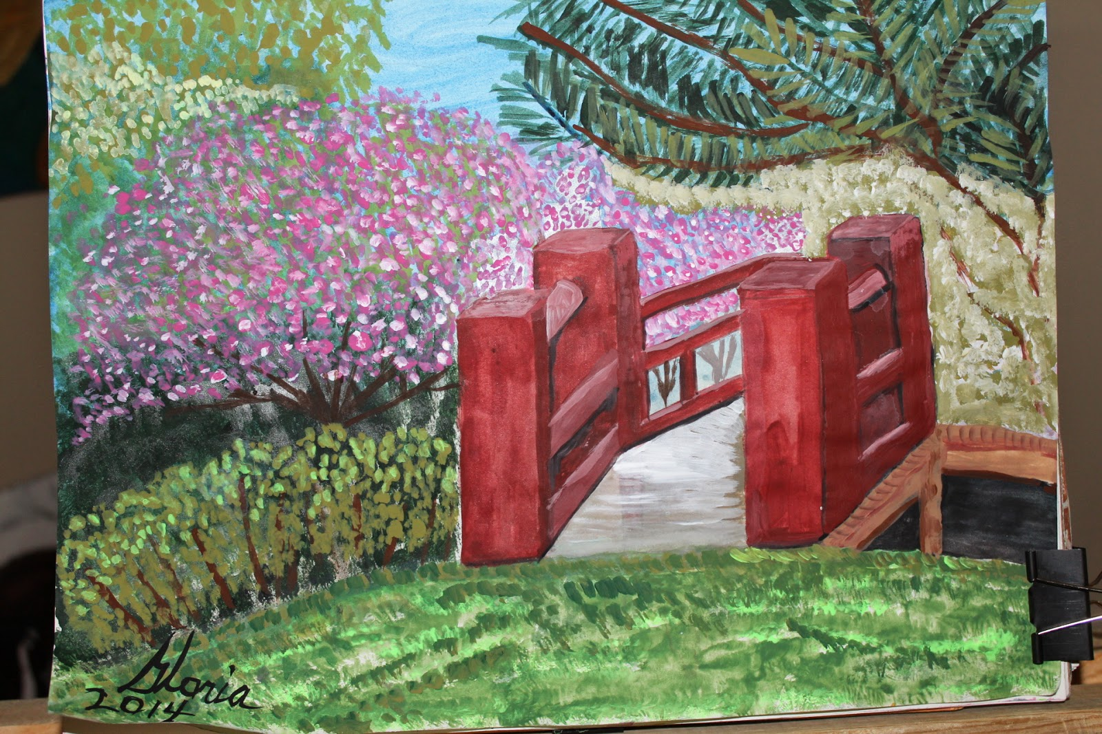 Japanese walkover bridge sketch by Gloria Poole of Missouri,23-Apr-2014; acrylics