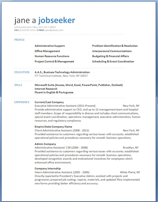 Microsoft Word Resume Templates Free » Best Resume Template Word