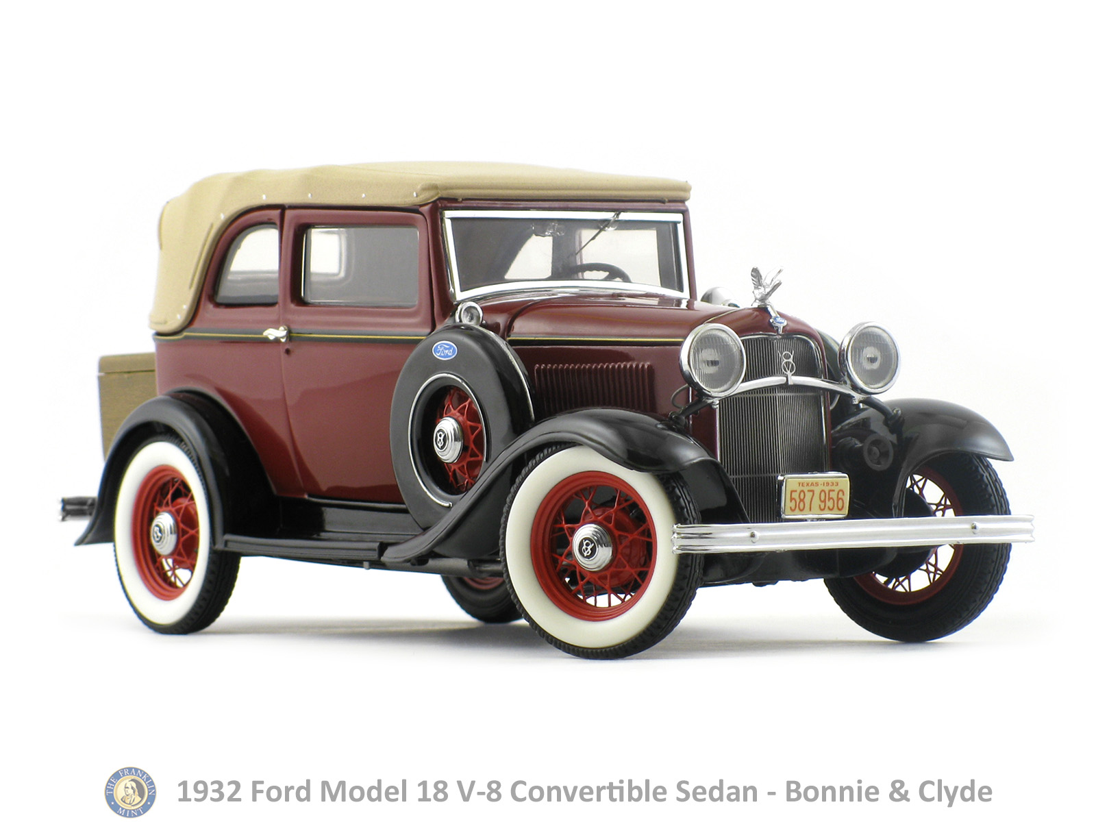 1932 Ford Model 18 V 8 Convertible Sedan Bonnie & Clyde Franklin Mint