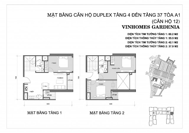 Mặt bằng căn hộ Duplex vinhomes gardenia 1