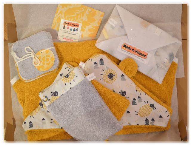 colis cadeau de naissance jaune gris blanc pour Valentine