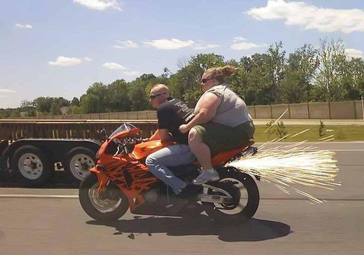 Fat woman on motorcycle pictures