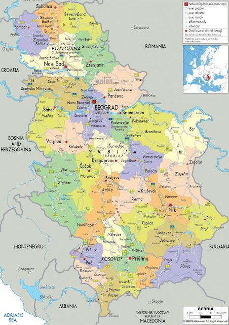 خريطة صربيا Serbia Map