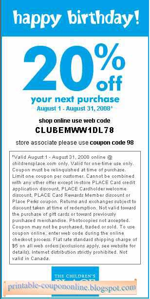 Children's place canada printable coupons 2018