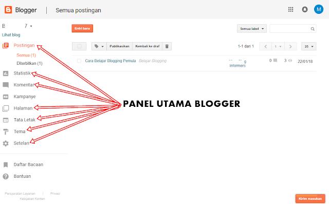 Keterangan Lengkap Menu di Dashboard Blogger untuk Pemula