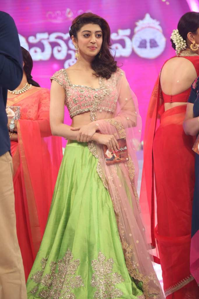 Pranitha Stills At Audio Launch In Green Dress