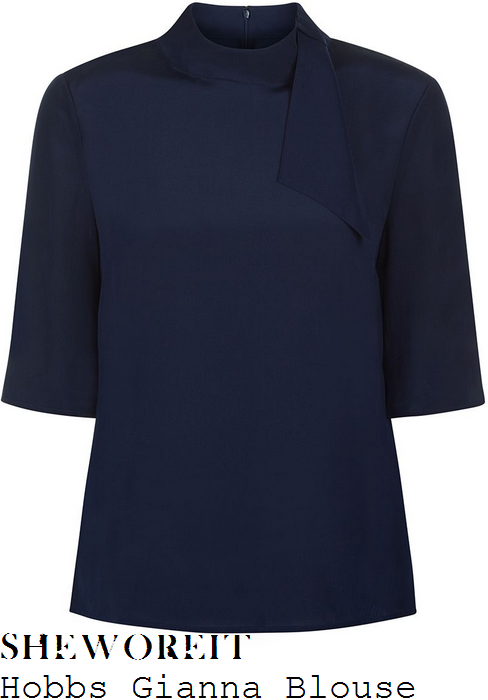 holly-willoughby-hobbs-gianna-navy-blue-half-sleeve-high-neck-stand-collar-loop-tie-detail-crepe-de-chine-blouse